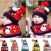New Fashion 2013 Korean autumn and winter warm baby rabbit hat + Neck Wrap sets children caps scarves wholesale RY13162
