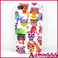 For Iphone 4 4S 4G For Iphone 4 4S 4G New Lovely Colorful Cartoon Owl TPU Gel Silicone Case Cover Skin For Iphone 4 4G 4S Case
