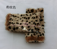 Faux fur semi-finger long short design thermal plush gloves female winter
