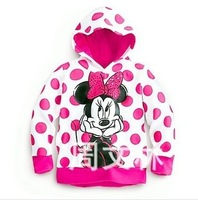 New Arrival! Polka Dots Hoodies Cartoon Minnie Mouse Long Sleeves Hooded Sweatshirts 2013 Kids Tops Girl Hoodies Coat
