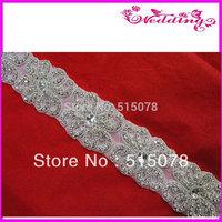 Newest wedding dress rhinestone belt trimmings iron on backing appliques free shipping