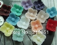 Free shipping Wholesale DIY accessory (mix color) 8MM flat back resin flower cameos cabochon jewelry findings SZ126