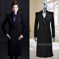 Autumn and winter women fashion long design slim double breasted woolen overcoat outerwear
