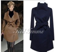 2013 spring medium-long large lapel fashion woolen outerwear overcoat ultra long paragraph wool coat