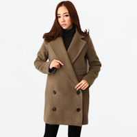 2013 autumn and winter women fashion double breasted wool suit collar wool coat loose medium-long