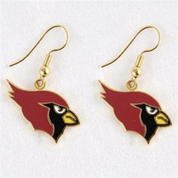Licensed Arizona Cardinals Logo J-Hook Dangle Earrings NEW Silver Tone/ wholesale