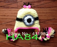 free shipping,20pcs/lot Handmade Gorgeous Knit Crochet yellow Despicable me minion Baby Toddler Hat Beanie cap New Newborn