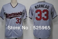 Wholesale Cheap Baseball Jerseys Men's Minnesota Twins 33 Morneau Grey Dark Blue Cream White(blue strip) Cool Base Throwback