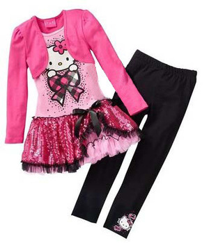 2013 fall new 100% cotton children's clothing, 5sets/lots, Hello Kitty dress fake two long-sleeved + pants suit