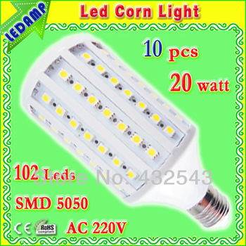 102 smd 5050 led e27 corn bulb 20w warm / white light ac 220v led lamps lighting degree 360 free shipping 10 pcs/lot