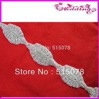 New Arrive Bridal Motif rhinestone crystal wedding applique