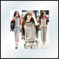2013 New fashion sports suits women's large size hoodie set casual korean style track suits for women H12