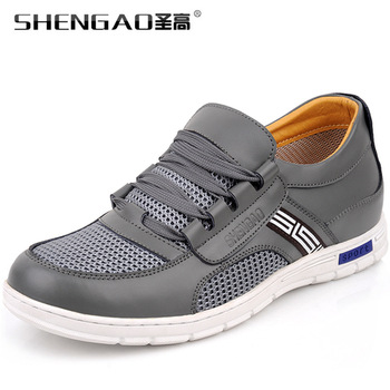 Free shippig newest fashion cowhide genuine leather + breathable mesh athletic shoes brand for men from manufacturer