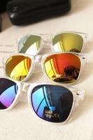 I-bright Hot sale in Europe and America retro fashion reflective blue lens sunglasses star models multi-color Free shipping