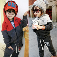 Free shipping  winter 2013 kids children sports suits. boys outerwear Scratched Velvet Hoodie sets costumes for kids clothing