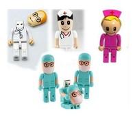 New 4pcs together cartoon doctors model usb 2.0 memory stick flash drive pen drive free shipping