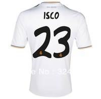 free shipping -23# ISCO 13/14 real madrid home white soccer football jersey, real madrid top thai quality soccer uniforms embroi
