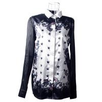 Korean yeh five-pointed star sandro print color block shirt decoration top shirt