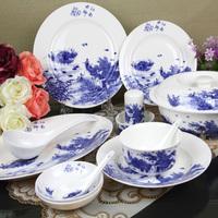 56 bone china glaze dinnerware set for microwave oven bowl