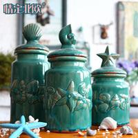 Home decoration shell embossed decoration blue ceramic storage jar american style