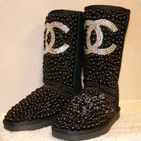Full diamond pearl in the tube snow boots leather snow boots