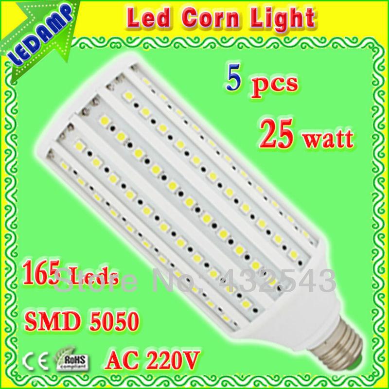 165 leds pure white smd 5050 led e27 corn bulb 25w ac 220v home led light bulbs 2700k degree 360 free shipping 5 pcs/lot(China (Mainland))