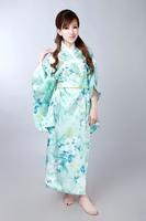 Hot Selling Japanese Vintage Original Tradition Silk Yukata Kimono Dress with Obi One size H0057 Free shipping