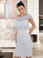 Free Shipping custom-made sheath cap sleeve knee length high quality lace material simple elegant mother of the bride dresses