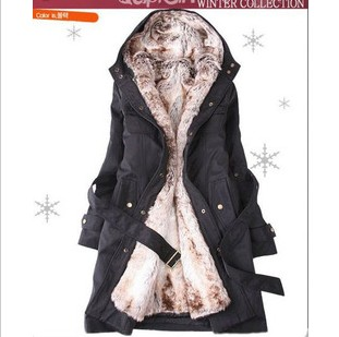 Women's thermal overcoat outerwear removable liner trench wadded jacket cotton-padded jacket