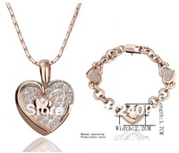 Z500T1018  Wholesale 18K Gold Plated Heart Crystal Jewelry Set Necklace/ and Bracelet Set,Lead Free Lowest Price on AIiexpress