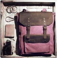 Men Women Vintage Canvas Leather backpack Rucksack laptop School Satchel bag 521