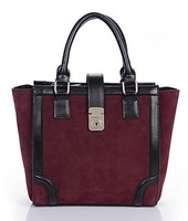 Ladies fashion winter matte leather leather bag retro leather bag wine red