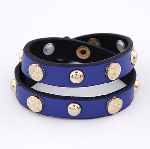 (Min Order $10 +Gift)+Free Shipping! Button nail cortex double Bracelet zz036(China (Mainland))