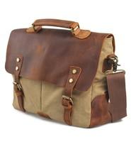 Men's Women Vintage Canvas Leather Shoulder Messenger Bag handbag briefcases 201