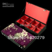 Wholesale - High End 8 grid Watch Boxes Silk Printed Necktie Box Wooden Jewelry Display Cases Leather belt Box Storage Boxes 1pc