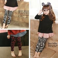 Free shipping 2013 New arrive cotton baby trousers fashion girl leopard leggings for autumn children tight pants Retail!!