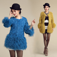 Fur 2013 medium-long berber fleece fur coat overcoat o-neck 7 female