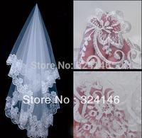 New Classy T06-1.5m flower lace white bridal veils noble wedding veil lace side wedding veil wholesale