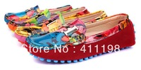 Peas soft driving OIL PAINTING slip-on Loafers lady flat shoes WD1001 fashion Women's 100%Authentic leather Red 5colors