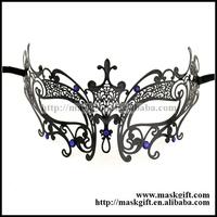 Free Shipping High Quality Royal Blue Crystal Deco Laser Cut Metal Masquerade Masks MG002-BLBK 48pcs/lot