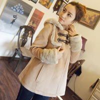 Free shipping  winter fashion faux fur collar horn button with a hood faux wool  maternity coat sweet stylish