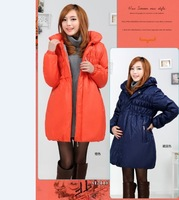 Free Shipping maternity thickening wadded jacket zipper  hooded outerwear