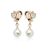 Wholesale Italina Rhinestone Crystal Pearl Drop Earrings with 18K Gold Plated Free Shipping