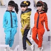 2ag Children's clothing female girl spring autumn child denim patchwork 2 pcs set 100% cotton school wear casual sports twinset