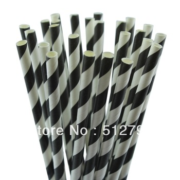 Free shipping wholesale paper drinking straws party supply wedding supplies stripe black color  500pcs