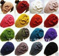 Handmade knitted Headbands crochet Flower headwrap new style headwear mix color 50pcs