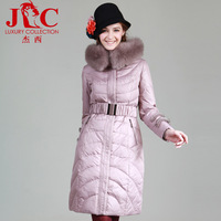 Free shipping Nie 2013 large elegant fox fur mink cuff luxury classic slim waist long down coat jc121087 design Women's Clothing