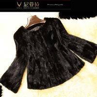 Fur marten design o-neck short overcoat mink fur coat Women natural fur coat