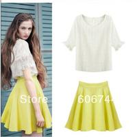 summer women's fashion one-piece dress sweet thin waist white top yellow skirt set free shipping