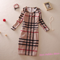 2013 Summer New Fashion CUTE STRIPE Design Women Plaid Dress, Spring Autumn Elegant Lady Casual Dresses Plus Size M-XXXL YX032